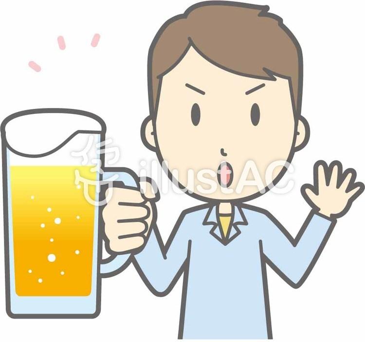 私服男性a-ビール注意-バストのイラスト