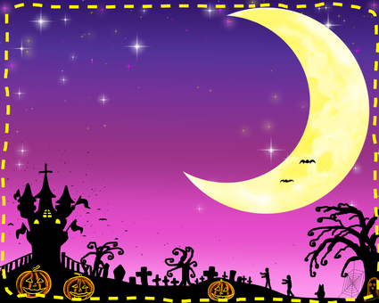Halloween crescent moon landscape purple background