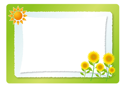 Sun and sunflower frame