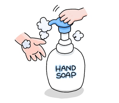 Wash hands with foam hand soap