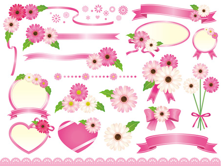 Pink gerbera and ribbon frame material collection