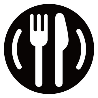 Rounded knife fork icon 04