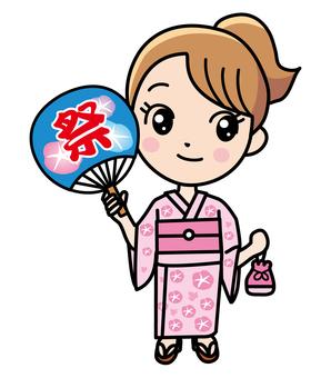 A woman in a summer festival yukata
