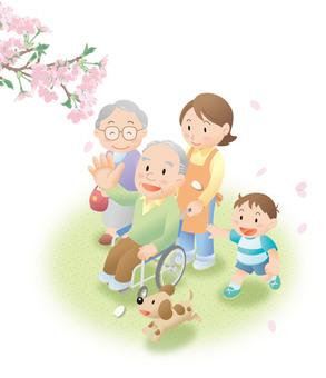 Sakura elderly wheelchair illustration