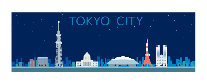 Tokyo city illustration night view