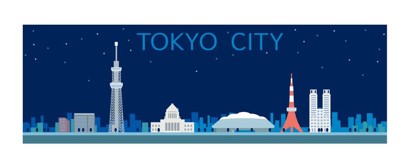 도쿄 거리 일러스트 야경