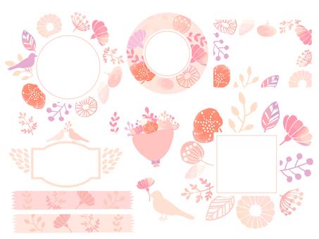 손으로 그린 꽃 프레임 세트 2