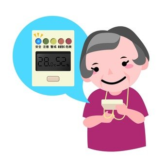 A heatstroke meter and a grandmother