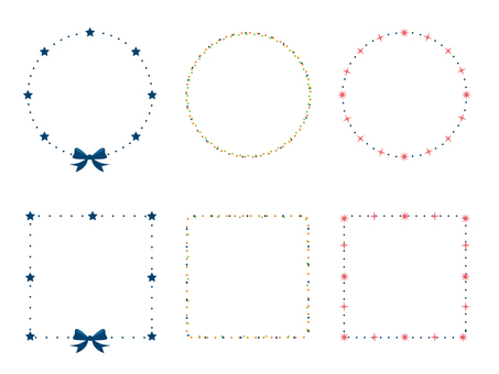 Star and ribbon and decoration frame of polka dot 1