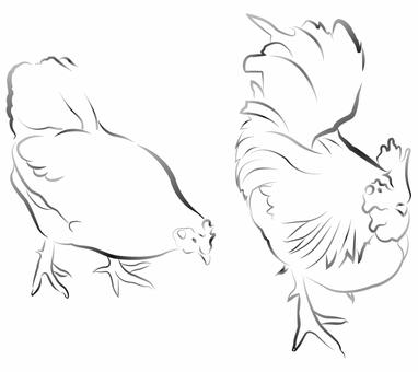 雞(水墨風格)02