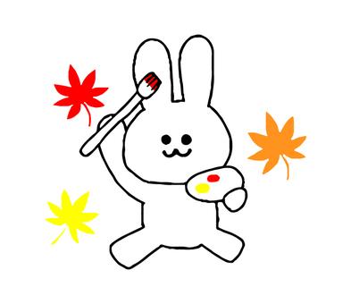 Autumn of rabbit art (simple)