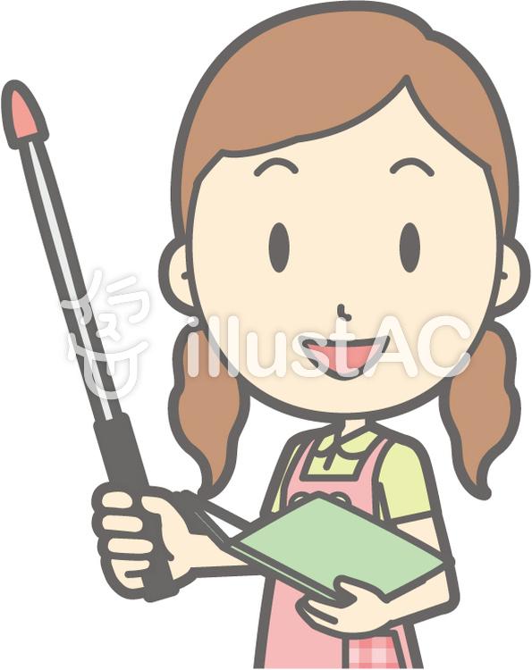 保育士女性-指示棒1左斜め-バストのイラスト