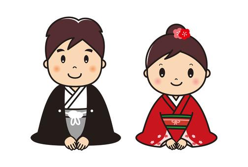 Kimono in Kimono Greeting male and female pair