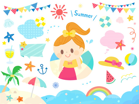 Summer material set of cute kids