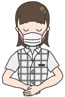 Office worker woman in summer clothes-bow (with mask)