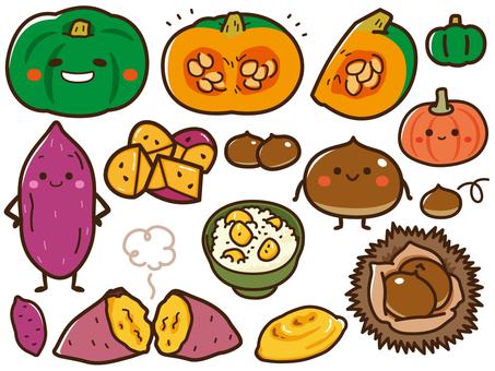 Pumpkin, chestnut, sweet potato set