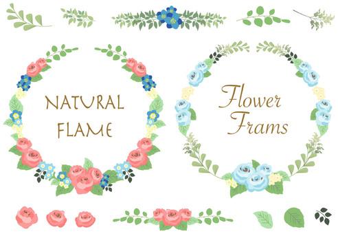 ばらの花と葉のフレーム