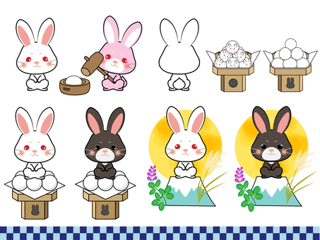 Offering rabbit set with moon cake