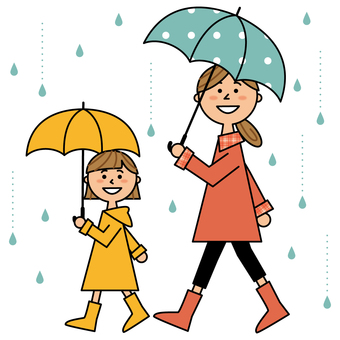 Mom and girl holding an umbrella
