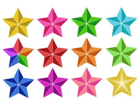 3D star colorful set