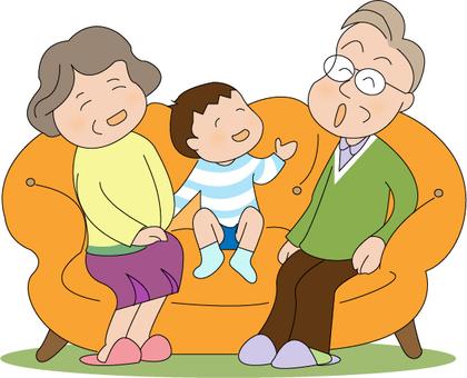 Grandmother and grandpa and grandma