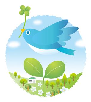 小鳥と新芽の風景