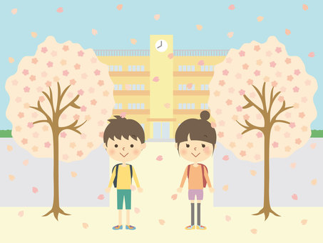 Sakura and elementary school student