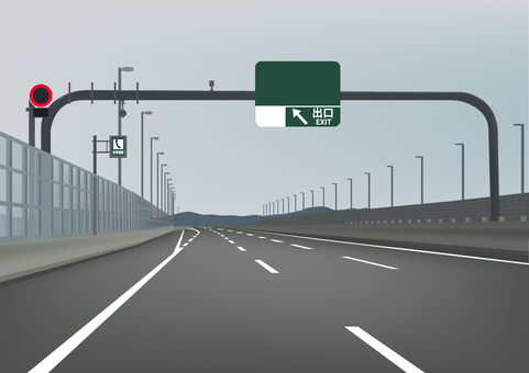 Illustration of highway interchange exit