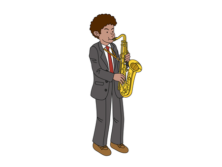 The man blowing the saxophone