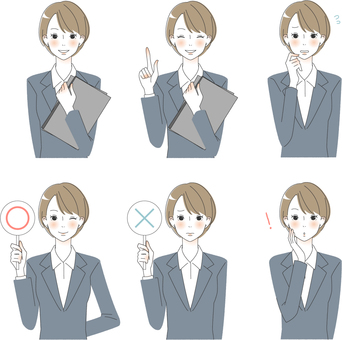 Adult women's facial expression in various suit sets 2