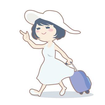 여행을가는 여성