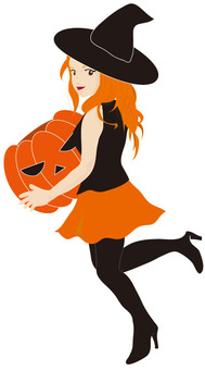 Pumpkin and witch