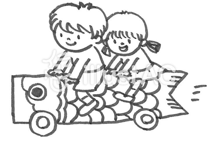 こいのぼりに乗る男の子と女の子のイラスト