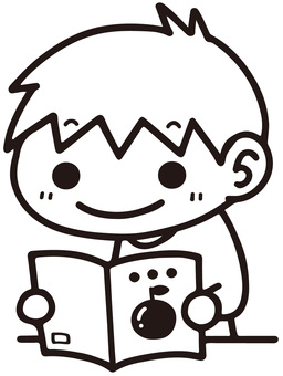 Boy reading a book (black and white)