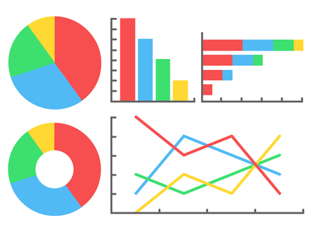 Graph material _ Pie chart Bar chart Line chart
