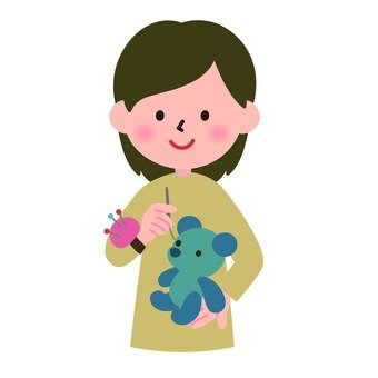 A stuffed toy and a woman