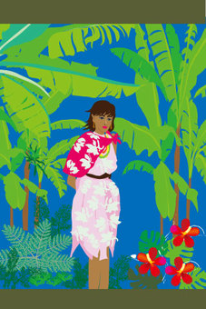 Tropical clothes ladies tropical illustration