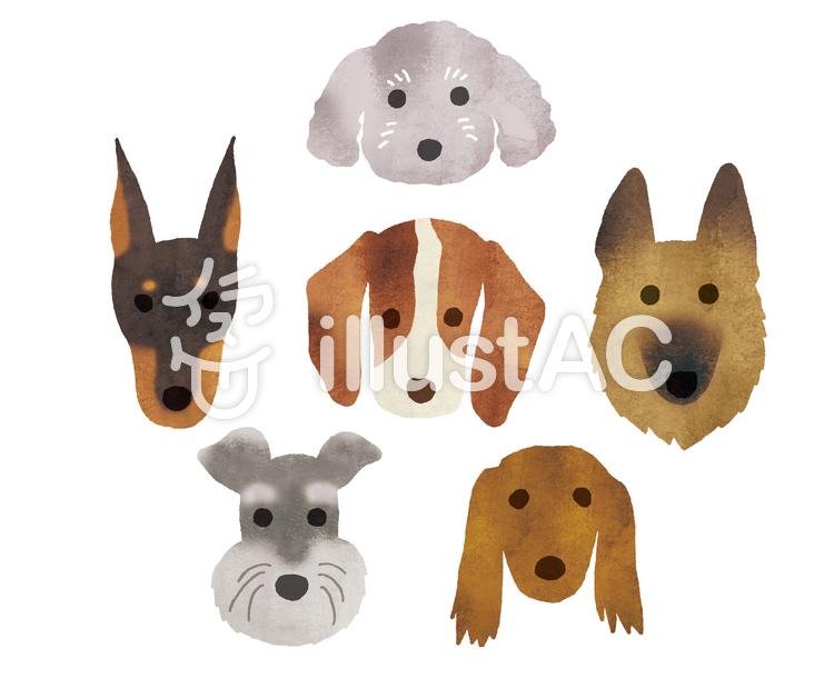 犬6匹水彩のイラスト
