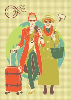 Fashionable senior travel style
