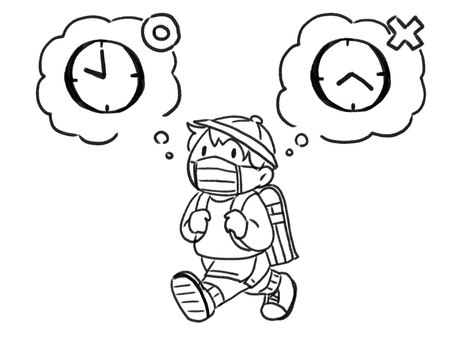 [Line drawing] Boy in mask wearing a jet lag school