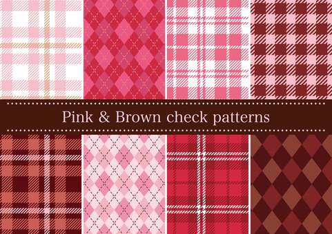 Pink & brown check pattern