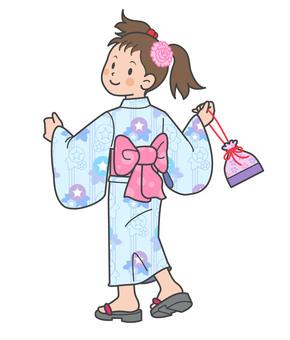 Children summer girl in a yukata