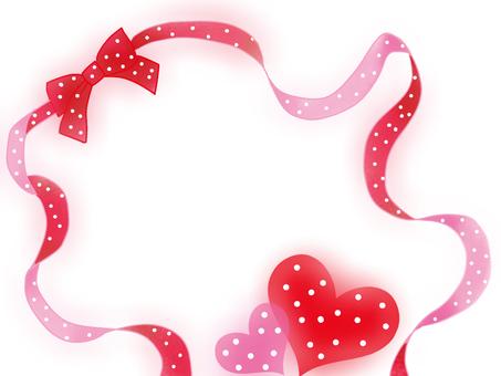 Ribbon Kurukuri polka dot Heart