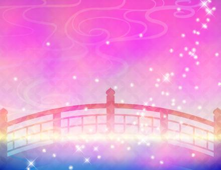 赤い橋_シルエット背景