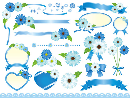 Blue Gerbera and Ribbon Frame · Material Collection