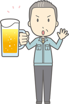 Middle-aged man work clothes - beer caution - whole body