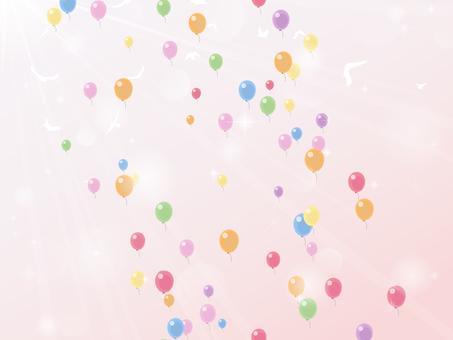 風船とピンクグラデ(光源+グレア+鳥)