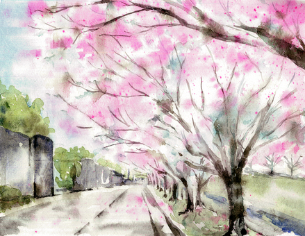 Cherry blossom view landscape painting 2