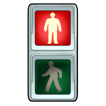 Pedestrian traffic light (red lit)