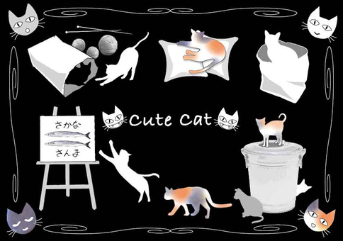 Cats cute illustrations black background